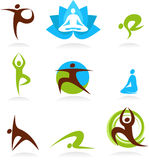 Collection of yoga people logos, vector icons stock illustration