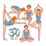 Collection of yoga poses vector illustration
