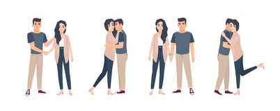 Collection of young couple standing in various poses. Bundle of man and woman embracing, hugging, holding hands. Set of. Flat cartoon characters isolated on Stock Images