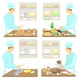 Collection. A young man prepares food, sushi, fish, cake, tea, coffee. The guy is a professional cook. Vector illustration set stock illustration