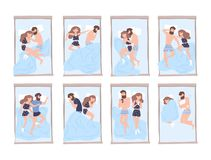 Collection of young man and woman sleeping on bed in various poses. Bundle of cute couple lying in different postures stock illustration