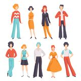 Collection of young men and women wearing vintage clothing, retro fashion people from 70s vector Illustration on a white. Collection of young men and women royalty free illustration