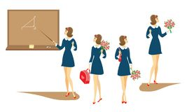 Collection. Young schoolgirls with flowers, in class at the blackboard. The girls are very nice, they are in a good mood. The lady vector illustration