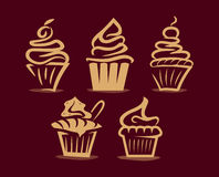Collection of yummy cupcakes illustration Royalty Free Stock Photography