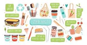 Collection of Zero Waste durable and reusable items or products - glass jars, eco grocery bags, wooden cutlery, comb. Toothbrush and brushes, menstrual cup vector illustration