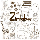 Collection of Zimbabwe icons Stock Images