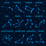 Collection of 12 zodiac constellations on space and stars background. Vector illustration stock illustration