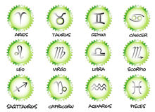 Collection zodiac. Set symbols monthly signs with names, objects white isolated Stock Photos