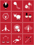 Collection of zodiac signs. Set of zodiacal icons in the same style Royalty Free Stock Photo