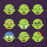 Set of Zombie Emoticon Sticker Isolated vector illustration