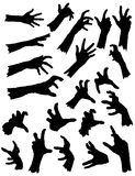 Collection of Zombie Hands. In different poses. Vector Zombie Hand Silhouettes Stock Photo