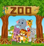 Collection of zoo animals with guide. Illustration of collection of zoo animals with guide stock illustration
