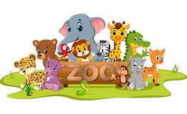 Collection of zoo animals Royalty Free Stock Photo