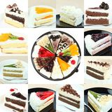 Collectionl sweet cakes slices pieces Royalty Free Stock Photo