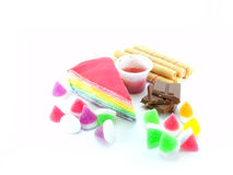 Collectionn of desset. Various of sweetmeat on white background Stock Photography