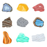 Collectionof semi precious gemstones vector stones and mineral colorful shiny jewelry material agate geology crystal Royalty Free Stock Image
