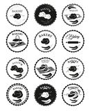 Collections of bakery design elements. Set of bakery logos, labels, badges. Bakery icons. Set of 12 black and white badges bakery Royalty Free Stock Photo