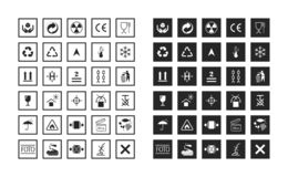 Commodity and manipulation symbols. Collections of basic informational signs for labeling on cardboard boxes. Logistics icons for products, labels, containers stock illustration