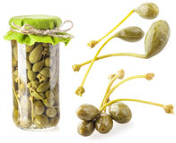 Collections of Capers preserved in glass jar Stock Photo