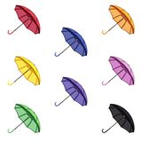 Set of 8 colorful vector umbrellas on a white background. stock illustration