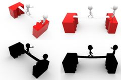 collections de concept de pont en fente de l'homme 3d avec Alpha And Shadow Channel Images libres de droits