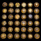Collections de gemmes de bijou sur le noir Image libre de droits