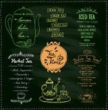 Collections de menu de temps de thé de tableau illustration stock