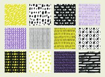 Collections of design elements. Hand Drawn textures made with ink. Isolated. Vector Illustration. Monochrome hand drawn texture Stock Photography
