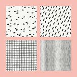 Collections of design elements. Hand Drawn textures made with ink. Isolated. Vector Illustration. Monochrome hand drawn texture. Seamless patterns royalty free illustration