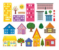 Collections of different houses. On white background Stock Image