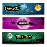 Collections heureuses de bannières de Halloween Photos stock