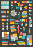 Collections of info graphics flat design diagrams. Stock Images