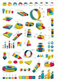 Collections of infographics 3D design diagrams. Various color schemes, boxes, pie charts,, bubbles for print or web design. Vector illustration Royalty Free Stock Photos