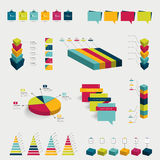 Collections of infographics flat design diagrams. Royalty Free Stock Images