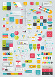 Collections of infographics flat design template. Various color schemes, boxes, speech bubbles, charts. Vector illustration Stock Image