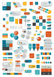 Collections of infographics flat design template. Various color schemes, boxes, speech bubbles, charts. Vector illustration Royalty Free Stock Image