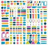 Collections méga d'éléments plats de conception d'infographics, boutons, autocollants, papiers de note, indicateurs Image libre de droits