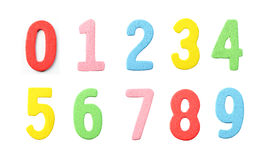 Collections of Numbers wood painted in colorful on white. Stock Images