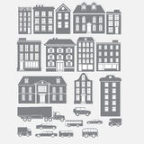 Collections of old type gray city buildings. On graybackground Stock Image