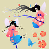 Collections of vector silhouettes  a fairy. Stock Photo