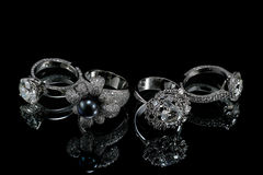 Collectionsof rings with diamond Royalty Free Stock Photography