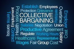 Collective Bargaining Word Cloud. On Blue Background stock illustration