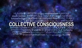 Collective Consciousness Word Tag Cloud. Dark blue starry deep space night sky background with a COLLECTIVE CONSCIOUSNESS word cloud stock images