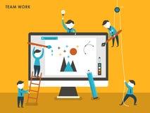 Collective creation concept in flat design Stock Photos