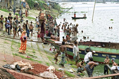 Collective place to bathe in river Buriganga, Dhaka stock images