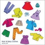 Collectoin del vector de los niños y de la ropa del bebé Fotografía de archivo