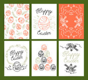 Collectoin of vector flat hand drawn holiday congratulation cards. Stock Image
