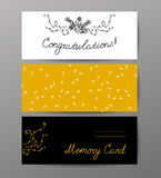 Collectoin of vector flat hand drawn holiday congratulation cards. Stock Photos