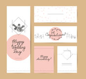Collectoin of vector flat hand drawn holiday congratulation cards. Stock Photo