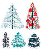 Collecton of stylized Christmas trees Royalty Free Stock Images